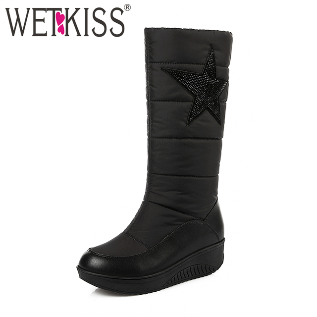 WETKISS 2019 Genuine Leather Down Warm Snow Boots Women Winter Boots Thick Plush Wedges Shoes Woman WaterProof Platform Big Size