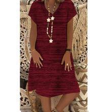 2019 New Yfashion Women Short Sleeve V Collar Loose Dress