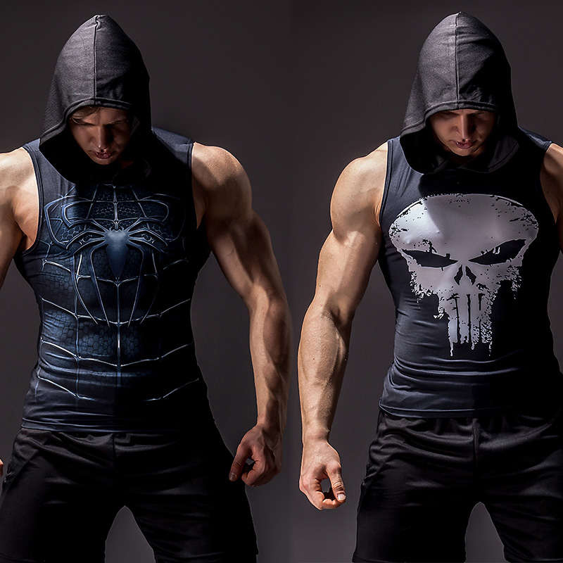 Superhero 3D printing bodybuilding stringer   tank     top   men High elasticity fitness vest muscle guys sleeveless hoodies vest