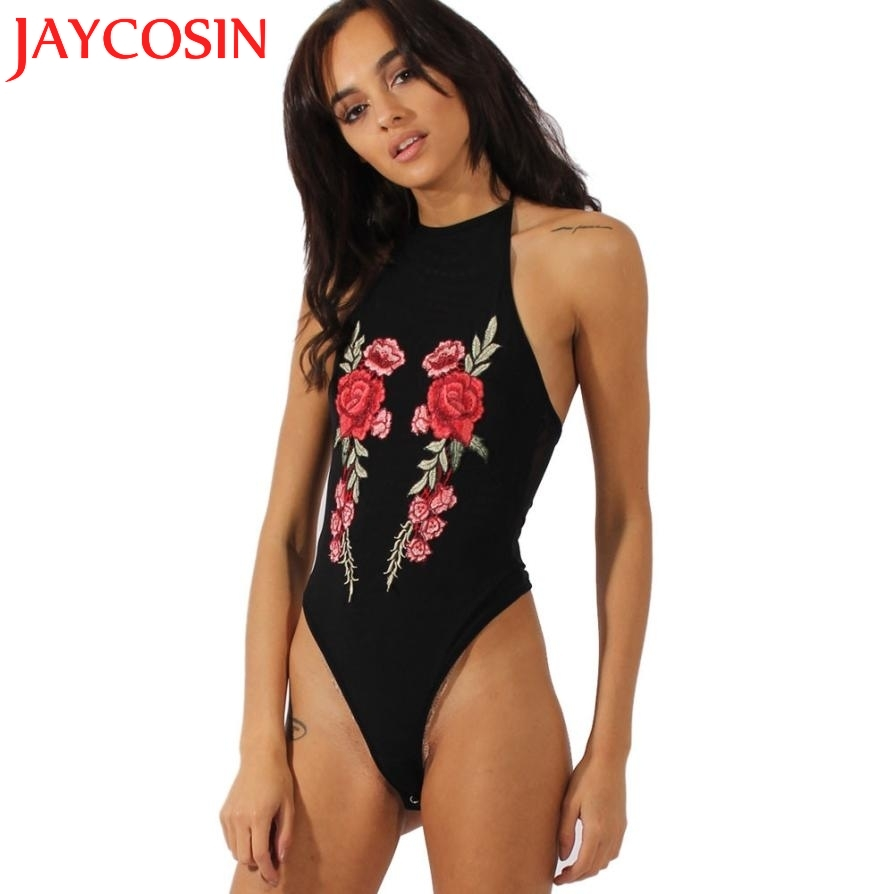 SIF Hot! 2017 Womens Summer Sexy Body Tops Embroidery Rose Halter Back Nude Sling Rompers Dungarees Leotard Body Dungarees 720