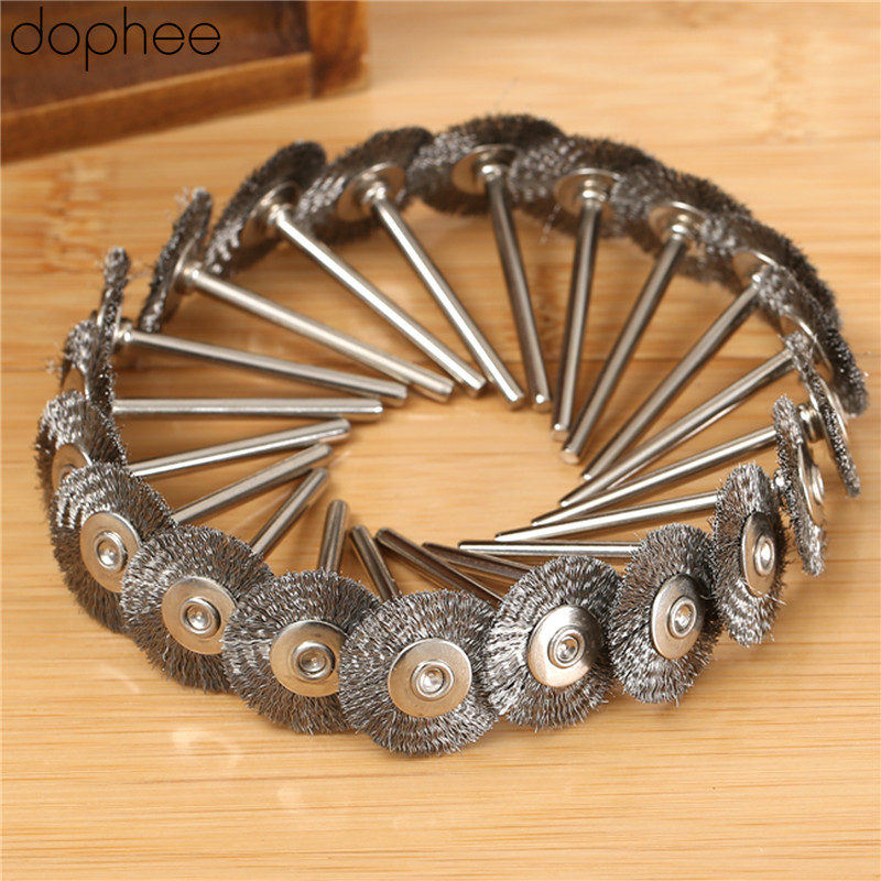 Dophee Dremel Accessories Stainless Steel Wire Wheel Brushes For Die Grinder Dremel Accessories Rotary Tool 22MM Steel 20PCS