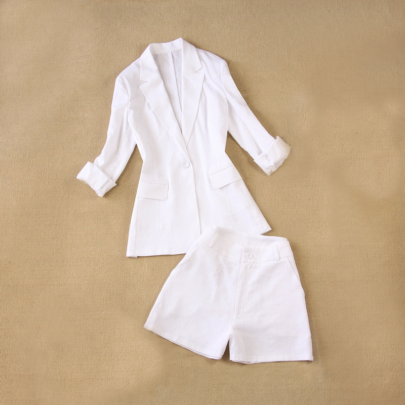 2 Piece Set Women Suit Female 2020 Summer New Style Linen Breathable White Office Ladies OL Uniform Jacket + Shorts Suit