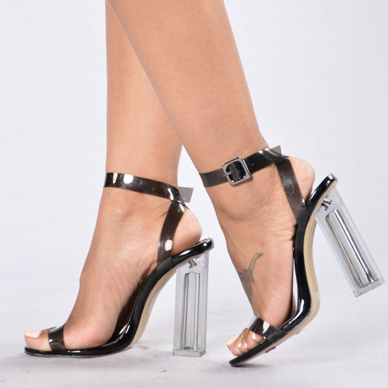 Summer Shoes Women Sandals PVC Block High Heels Crystal Clear Transparent Shoes Sandals Buckle Ankle Strap Sandals Black 11cm sorbern women sandals shoes real image pvc clear heels buckle strap 15cm heels crystal sandalias mujer 2018 summer shoes women