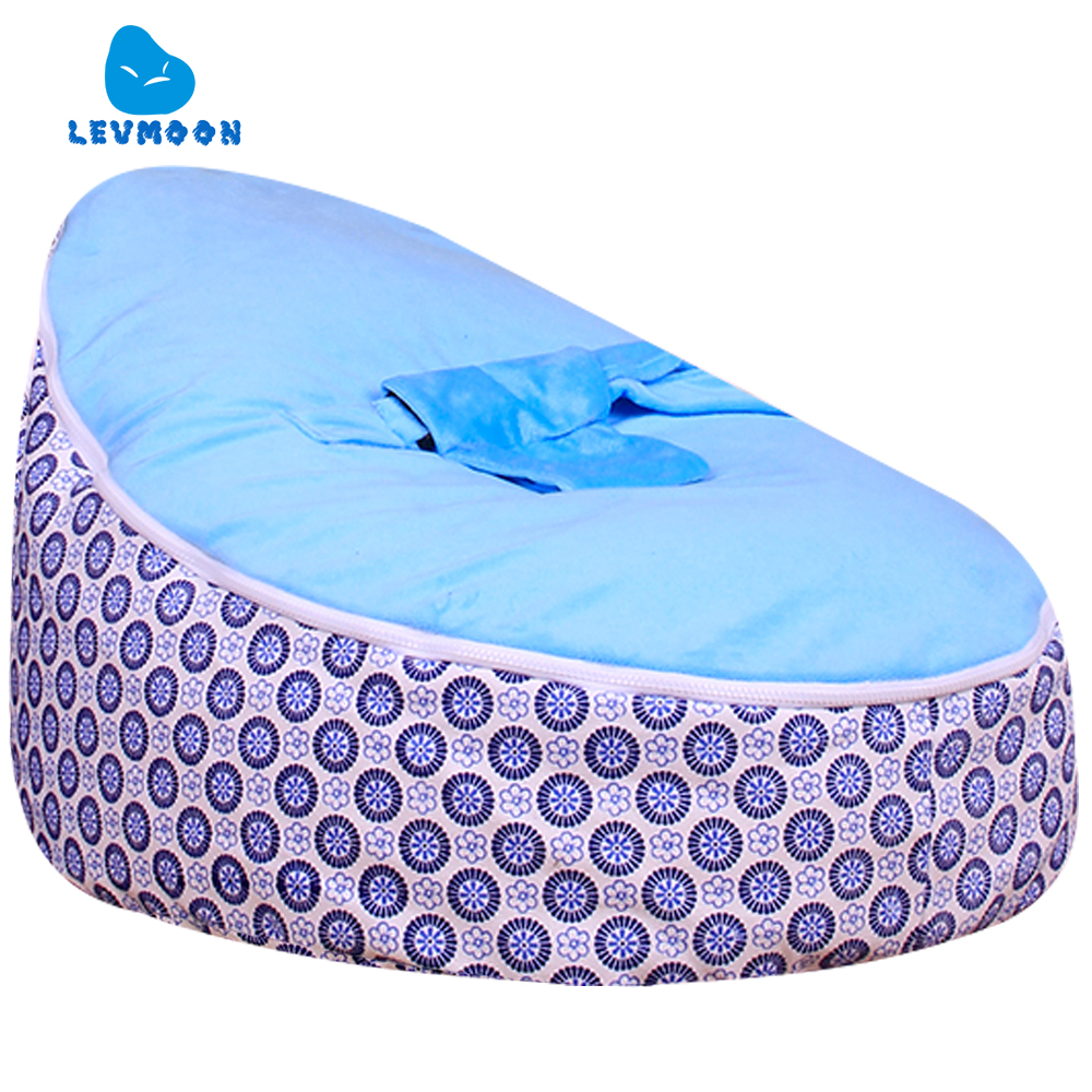 Levmoon Medium Blue Circle Plum Bean Bag Chair Kids Bed For Sleeping Portable Folding Child Seat Sofa Zac Without The Filler