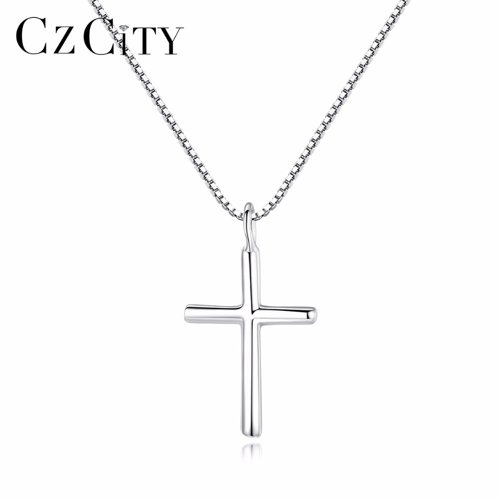 CZCITY Brand Classic Cross Silver Charms Necklaces & Pendants High Quality Women Sterling Silver 925 Cross Pendant Fine JewelryCZCITY Brand Classic Cross Silver Charms Necklaces & Pendants High Quality Women Sterling Silver 925 Cross Pendant Fine Jewelry