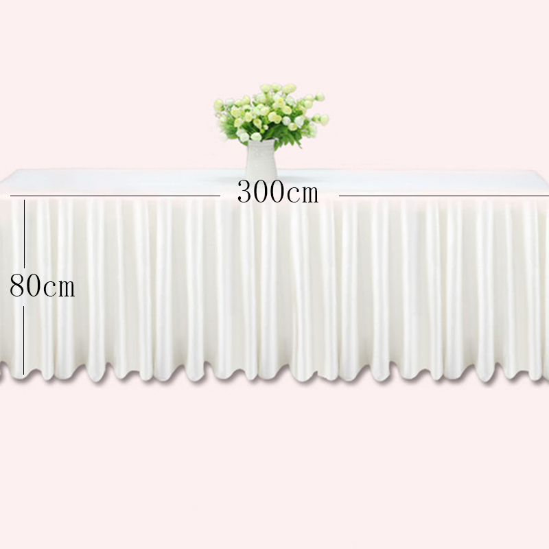 0 8 3m Table skirts white ice silk wedding table skirt table cloth decoration hotel banquet event hotel home table skirting pink in Table Skirts from Home Garden