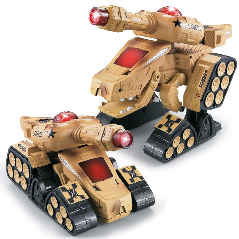 rc tank TT670 Infrared Battle Dinosaur Tank Emmagee Remote Control Tank Fort Rotate Fighting RC Deformation Army Tank for gifts 2 4g huanqi 516c rc infrared battle tank automatic shows tank remote control toys tank for children gift 1pcs lot