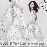 2018 New Fashion 1 Meter Swallow White Chiffon Fabric Pure Silk Dress Material Elegant