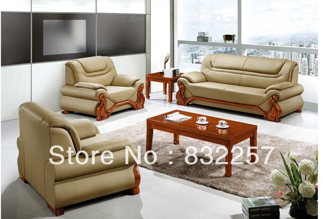 Hot Genuine Leather High Grade Office Sofa Fashion Atmosphere Modern Living Roome Furniture