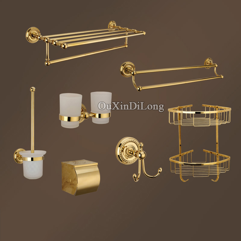 Luxury Brass Bathroom Accessories Towel Bar Racks Rings Shelf Holder Soap Dishes Paper Holder Robe Hooks Toilet Brush Holders luxury european brass bathroom accessories bath shower towel racks shelf towel bar soap dishes paper holder cloth hooks hardware