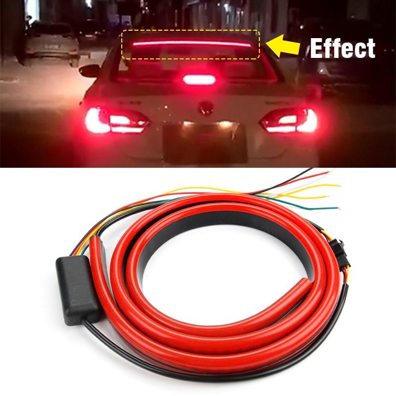 OKEEN 12V Гибкая Автомобильная дополнительная Тормозная Светодиодная лампа красная мигающая Светодиодная лента 103 см стоп сигнал светодиодный предупреждающий свет водонепроницаемый Фара для авто в сборе      АлиЭкспресс