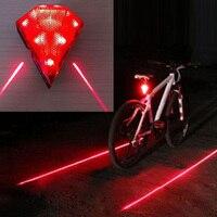 Cycling Bicycle Bike Rear Back Tail Light Safety Warning 8 LED 2 Laser Flashing Lamp Lights