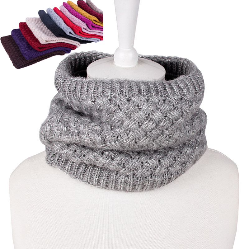 2019 Women Men Winter Warm Neck Ring   Wraps   Knitted Wool Cowl Collar Circle   Scarf   Female Snood Thermal Ski Fleece   Scarves   Fashion