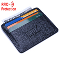 MRF12 RFID Blocking Slim Leather Wallet 100% cow leatherFront Pocket Credit Card Case Sleeve Card Holder With ID Window