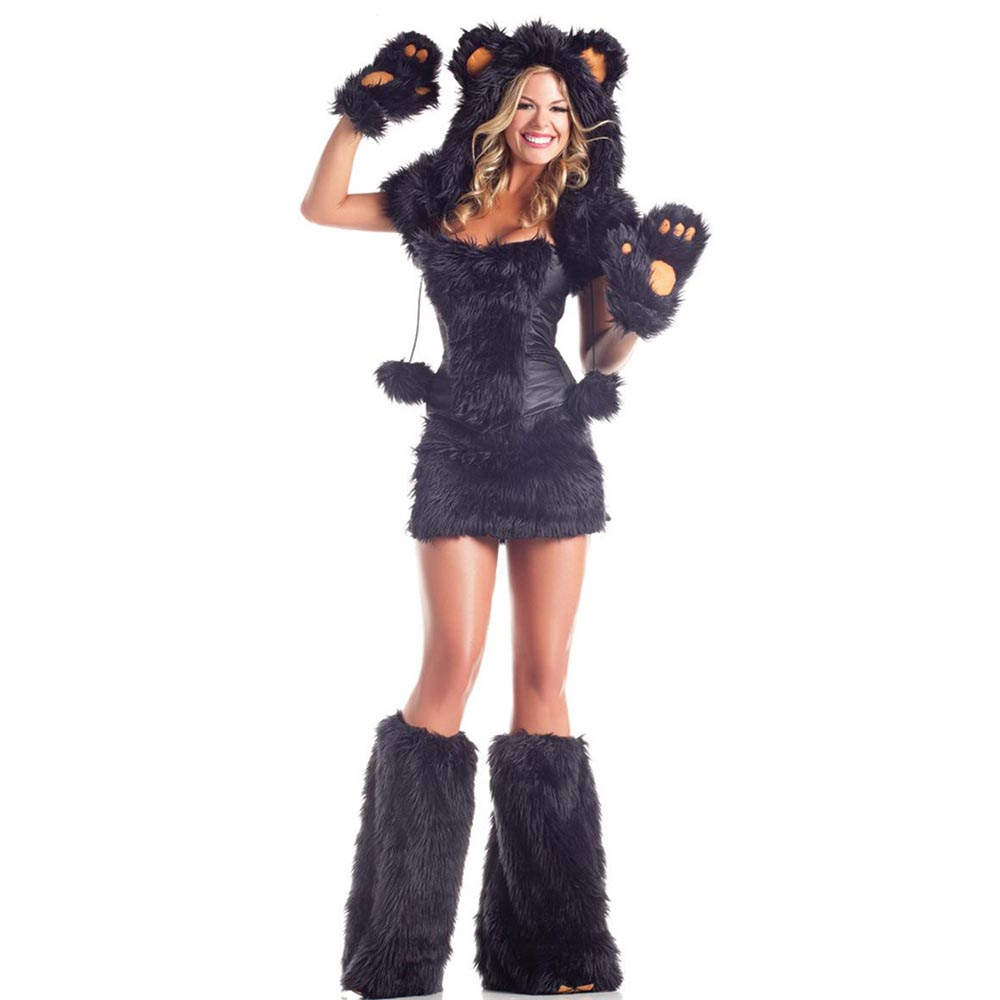 Sexy Bear Costume for Adult Woman Black Furry Bear Cosplay Animal Costume Outfit Fancy Dress Halloween Party Costumes One Size