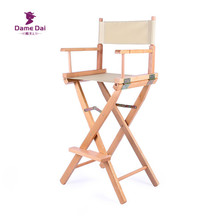 Bar Height Director Chair Natural/Black Frame With Cavans Garden Furniture  Wooden Portable Folding High