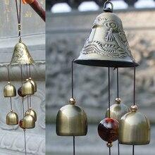 Ветряной колокольчик двора сада дома Windchime 6 колокольчиков открытый декор с церковью орнамент Горячий