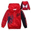2-7años Bebé Niños Chaquetas Abrigos de Dibujos Animados de Spider-man Niños de Algodón Outwear Abrigo Nuevo 2017 Primavera Otoño Cabritos de Las Muchachas de la Cremallera chaqueta