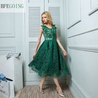 A Line Cocktail Party Dress Pearl Pink / Dark Green V neck Knee length Lace Custom made