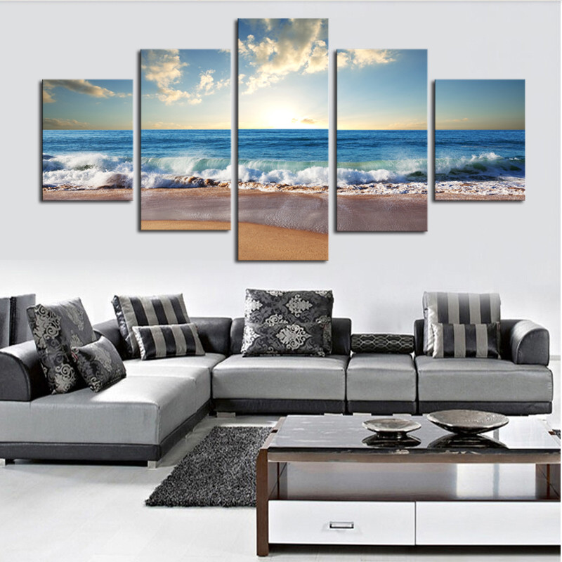 5 Piece Canvas Art HD Printed Painting Canvas Print Sunrise Great Waves Room Decor Print Poster Picture Back to the Future