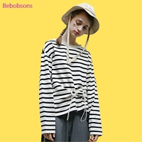 2017 Autumn Women T Shirt Black Stripe Printed Loose Two Eyelets Ripped Collar Casual Long Sleeve