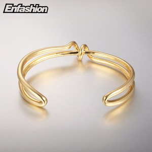 Image 4 - Enfashion Knot Cuff Bracelet Manchette Armband Gold color Loop Line Bangle Bracelet For Women Bracelets Bangles Pulseiras B8782