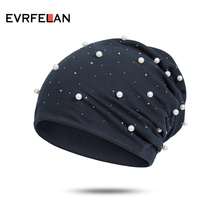 Evrfelan, модная зимняя женская шапка с жемчугом, одноцветная, Skullies Beanies, женские зимние шапки, мягкие теплые хлопковые шапки для девушек