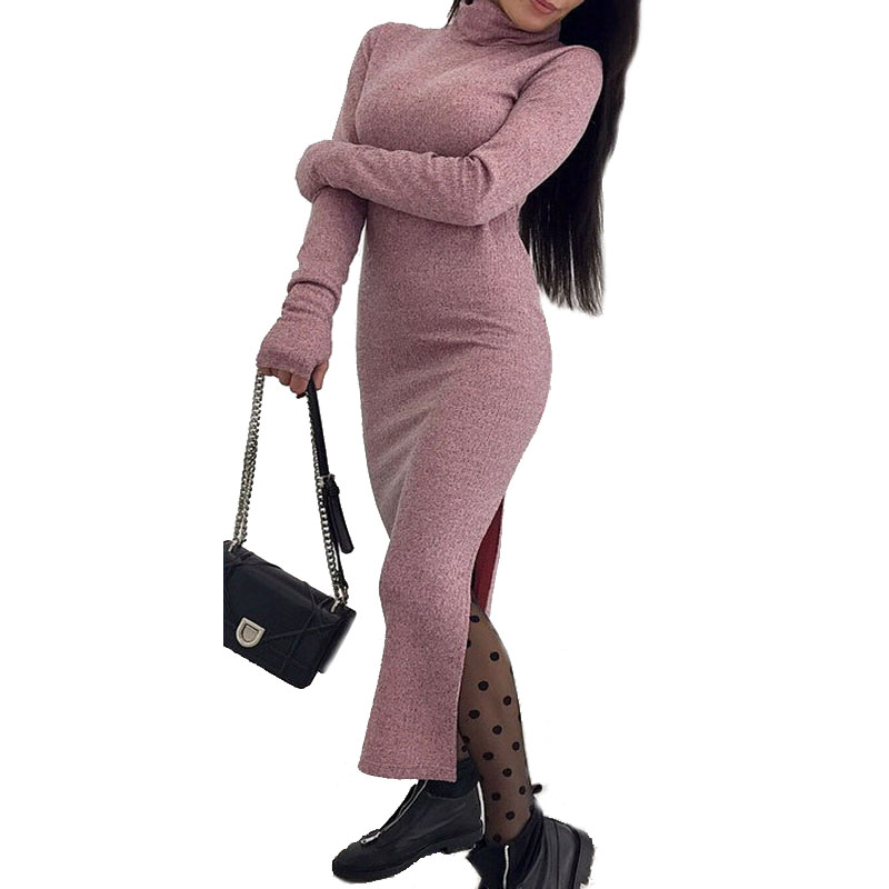 2018 Knitted Sweater Dress Women Turtleneck Long Maxi Cotton Slim Bodycon Pullover Dress Autumn Winter High Split Hem Dress Tops women turtleneck front pocket sweater dress