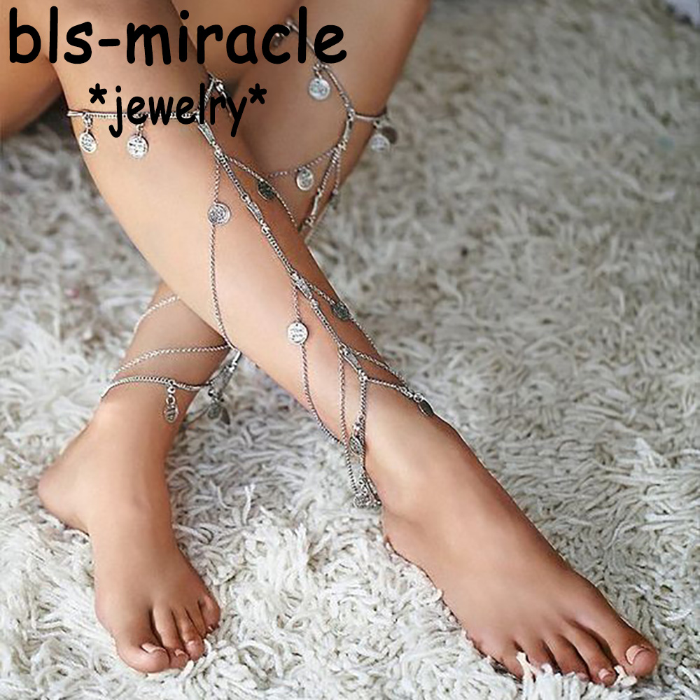 Bls-miracle Summer Bohemian Style Foot Jewelry Punk Vintage Silver Color Coin Shape Tassel Anklet Gift For Women Beach A-53
