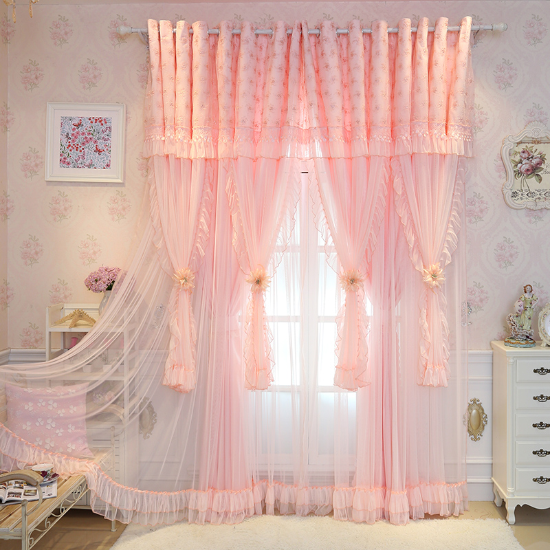 double layer curtains full sunnyrain 2piece pink luxury curtains princess style curtain for bedroom drapes doublelayer living room customizable ღ ღsunnyrain