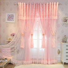 SunnyRain 2 Piece Pink Luxury Curtains Princess Style Curtain For Bedroom Drapes Double layer Living Room