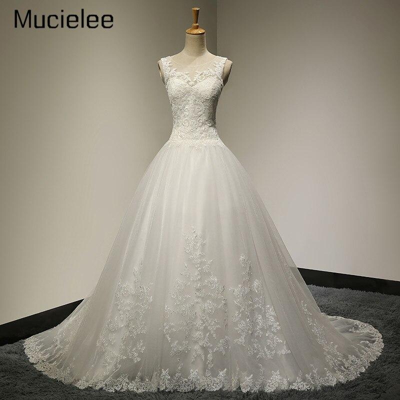 Mucielee Vestido De Noiva Renda Vintage Lace Princess Wedding Dress Ball Gown Wedding Dress Robe De Mariage 2017 Casamento
