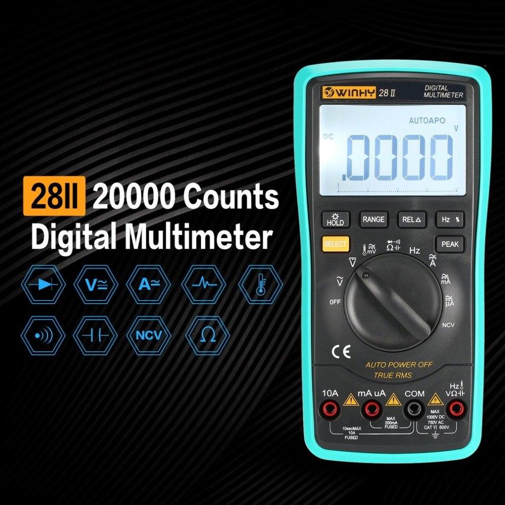 28II 20000 Counts Digital Multimeter True RMS AC/DC Volt Amp Ohm Capacitance Temperature Diode NCV Continuity Testing Meter цена