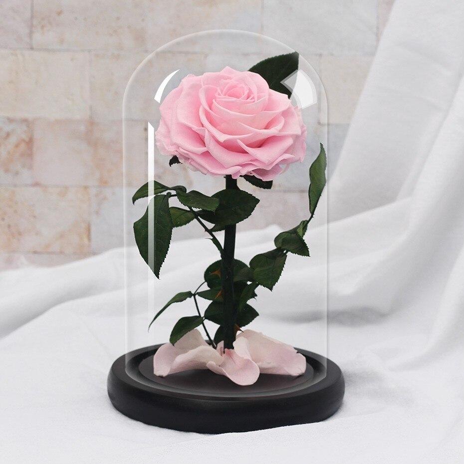 Подарки ко дню Святого Валентина красота и чудовище роза цветок в стеклянном куполе Рождество для украшения стола вечные цветы - Цвет: Pink