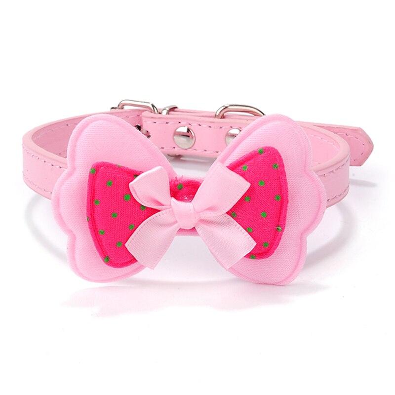 Factory Price!1pcs Dod Polka Dots Collar Bow Pet Dog Collar Leather Pet Choker Puppy Cat Necklace XS S M L