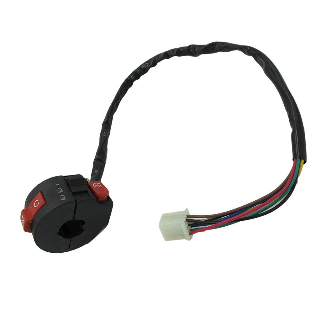 3-Function Left Handlebar Switch Kill Start Light Button ATV Switch Assembly For 50 70 90 110 125cc ATV Quad 4 Wheeler 53cm