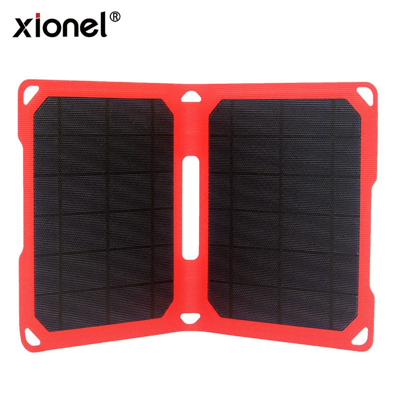 Xionel ETFE 10W Folding Solar Panel Charger with Dual USB Ports for All 5V Digital Cell Phones,Emergency Camping&Hiking image