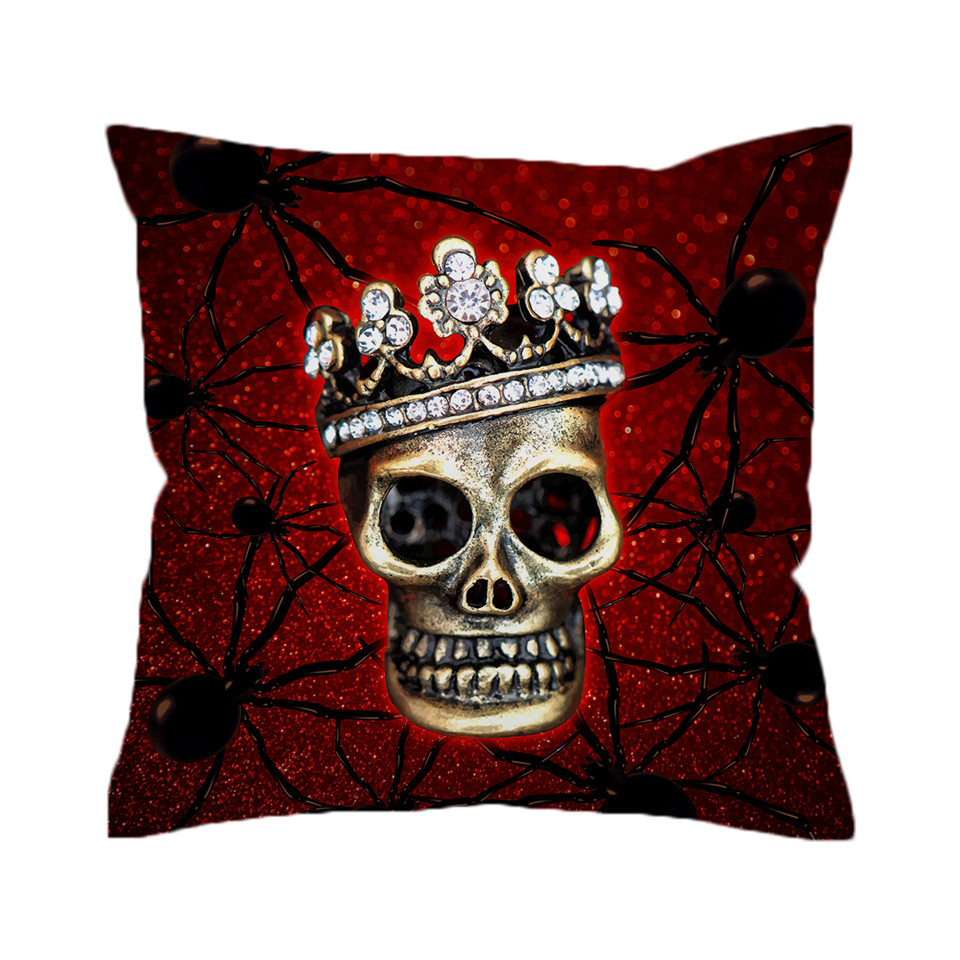 Excellent Beddingoutlet Spider Skull Cushion Cover Queen Crown Pillow Cover Blood Red Decorative Pillowcase Microfiber Gothic Bedding Theyellowbook Wood Chair Design Ideas Theyellowbookinfo