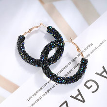 Brand Fashion Design Charm Crystal Hoop Ear Stud Geometric Round Shiny Rhinestone big Earring Women Jewelry Hoop Shine Earrings(China)