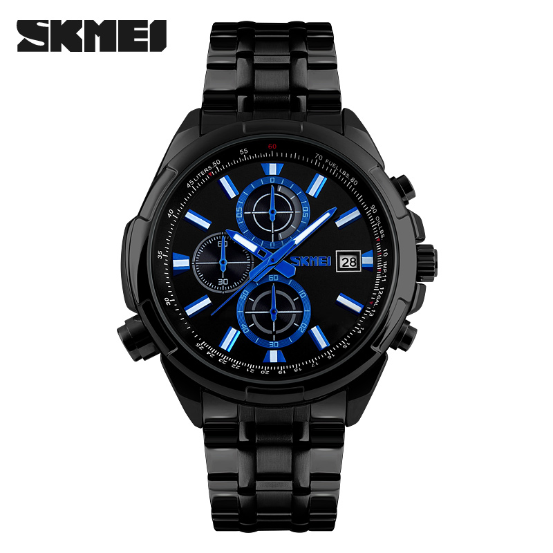 Fashion Quartz Watches Men Stainless Steel Analog Date Stopwatch Waterproof Business Quartz Watch Man clock