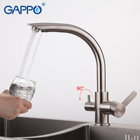 GAPPO Kitchen Faucet Water Purification Function Cold And Hot Water Mixer Stainless Steel Crane Double Handle