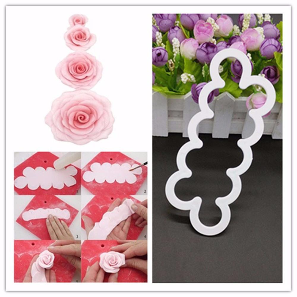 3D Rose Chocolate Mold Lace Flower Silicone Mats Fondant Cutter Cake ...