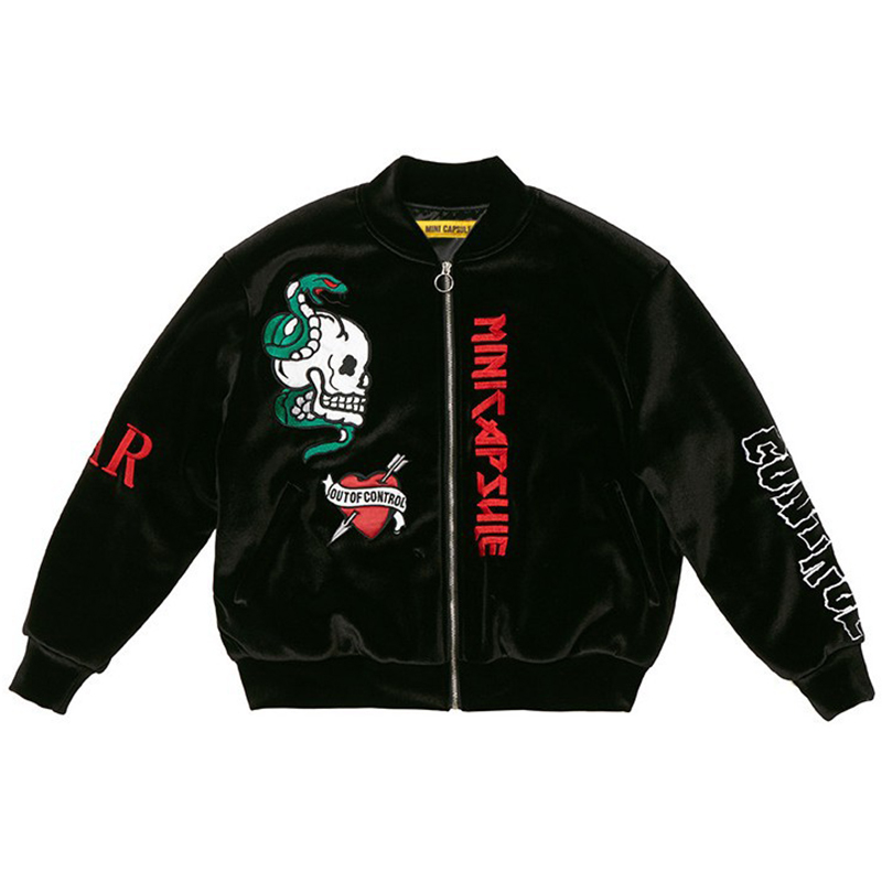 Kpop Velvet Embroidery Padded Hoodie Coat Varsity Top Quality Black Jacket Outwear