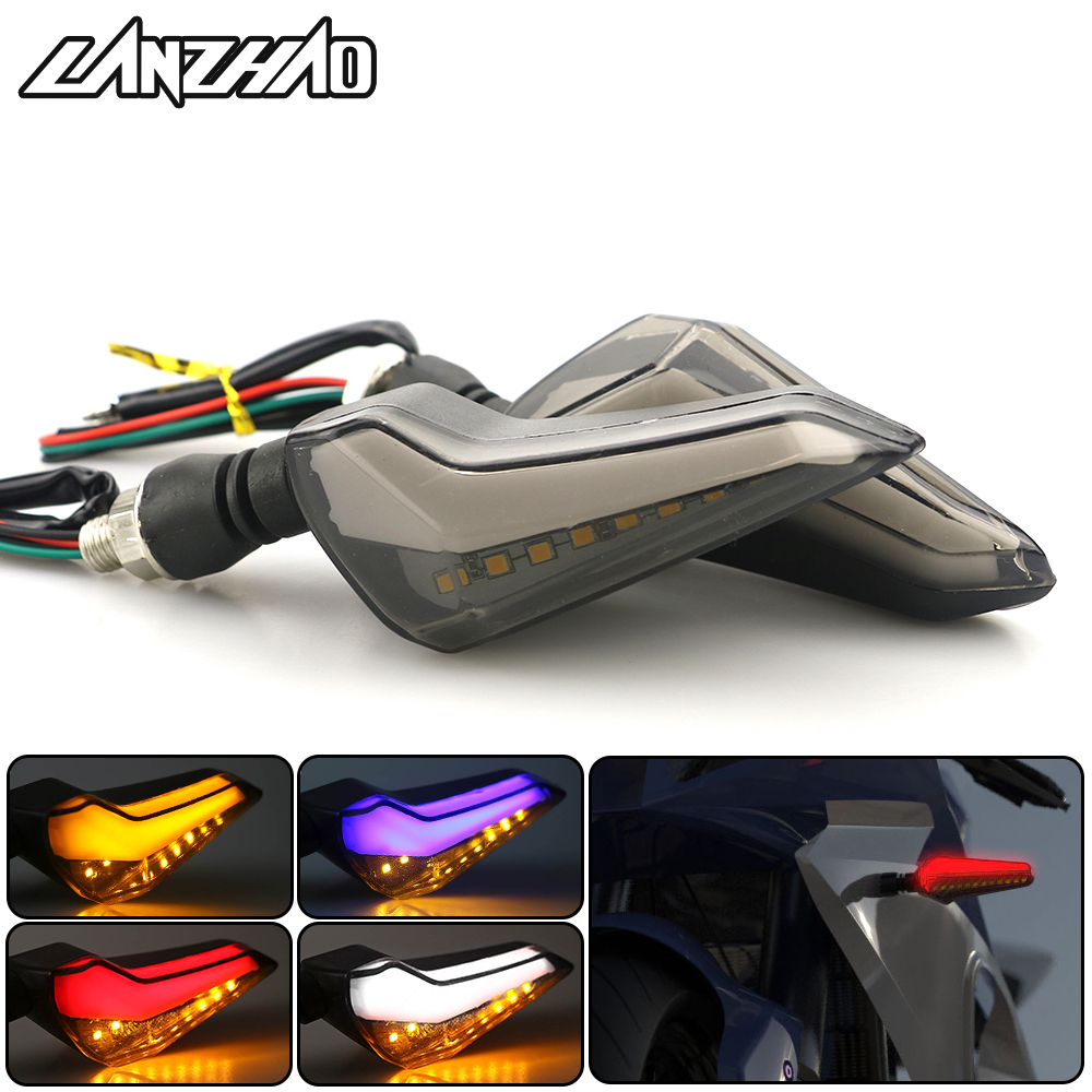 Pair Motorcycle LED Daytime Running Brake Stop Turn Signal Light Indicator Blinker Flasher DC-12V Universal For Kawasaki Yamaha