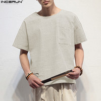 INCERUN New Arrival Summer Men Casual Chinese Style Linen T Shirts Pockets Short Sleeve Loose Flax