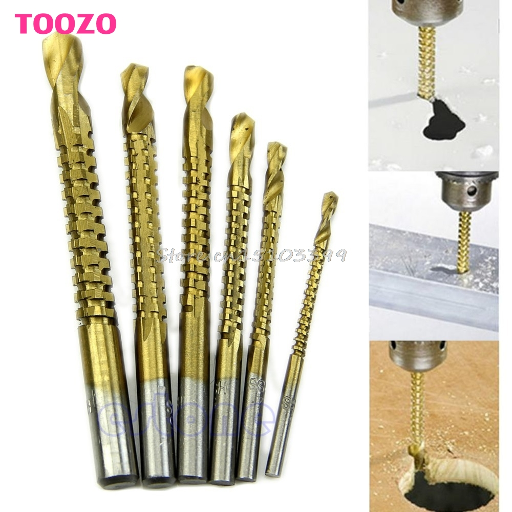 6Pcs/lot Woodworking Cutting Cutter Hole Saw Holesaw Wood Metal HSS Ti Drill Bit #G205M# Best Quality free shipping 6pcs ti drill bit woodworking wood metal plastic cutting hole saw holesaw hss y102