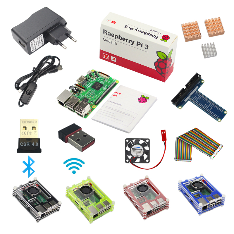 UK Raspberry Pi 3 Model B Starter Kit +1 Acrylic Case+2.5A Power Supply +USB Cable + Fan + GPIO Adapter +Wifi Bluetooth Adapter 1pcs pi plus kit breakout cable gpio 40pin cable raspberry pi 3