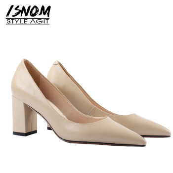ISNOM 2019 Genuine Leather Pumps Women Pointed Toe Footwear Ol Shallow Shoes Female High Heels Office Shoes Woman New Spring