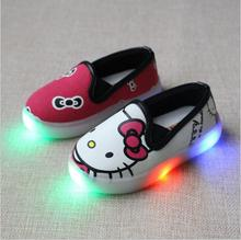 Brand Kids Girls Hello Kitty  Casual Shoes with light Led boy shoes fashion children loafer soft shoes size 21-30
