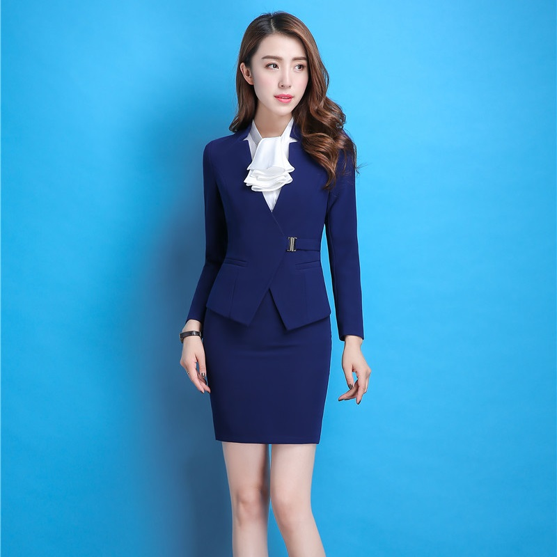 Professional Autumn Winter Elegant Slim Skirt Suits With Jackets And Skirt For Ladies Office Business Women Blazers Plus Size